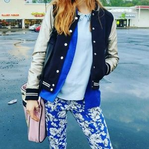 F21 Blue and White Floral Crop Pants