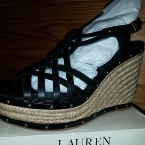 Brand New Ralph Lauren Womens Stacey Wedge Black