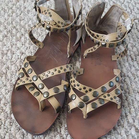 509db24e49bc Blowfish Shoes - Brass-studded Blowfish Zip-up Gladiator Sandals