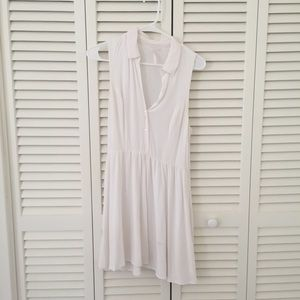 White collared Sleeveless Button Up Dress