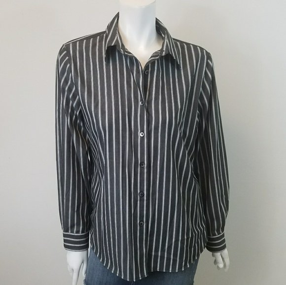 Foxcroft Tops - Foxcroft Striped Button Blouse
