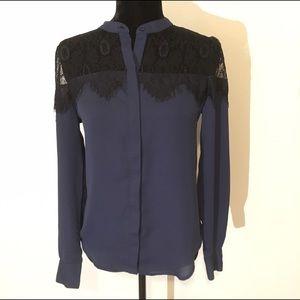 LC Lauren Conrad Tops - Navy blue lace shoulder Lauren Conrad top