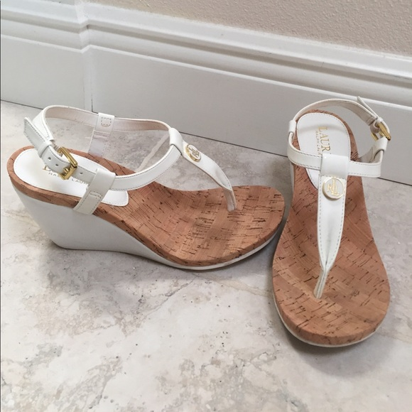 3aded1d3ccb Lauren Ralph Lauren Shoes - Sz7.5 Ralph Lauren white and cork wedge heels
