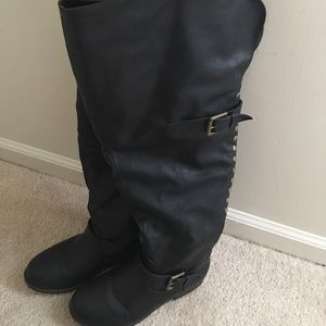 Journee Collection Shoes - Journee over the knee black boots