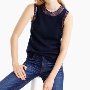 J.crew Sequin crewneck shell top in merino wool