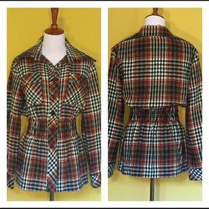 1970s Vintage Sears Wool Plaid Blazer Size Large