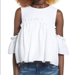 White ruffle cold shoulder top