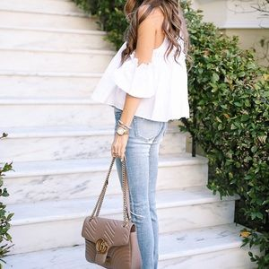 Nordstrom Tops - White ruffle cold shoulder top