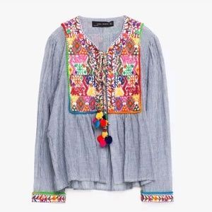 ZARA Embroidered Pom Pom Striped Jacket RARE HTF L