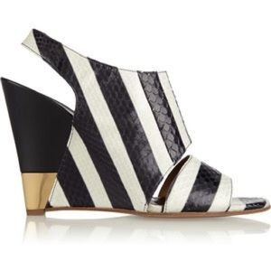 Chloe Shoes - Chloe Ayers striped wedge bootie
