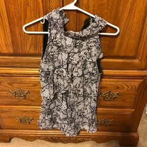 Black and white polyester top