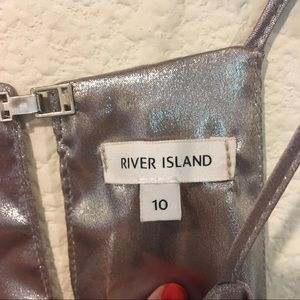 River Island Tops - River Island silver high neck tank blouse