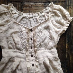 Anthropologie Cream Ruffle and Lace Button Top