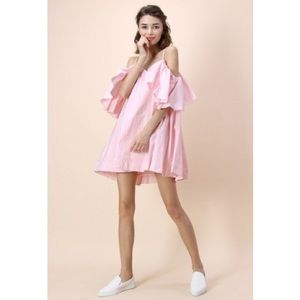 NWT Chicwish off the shoulder pink ruffle dress