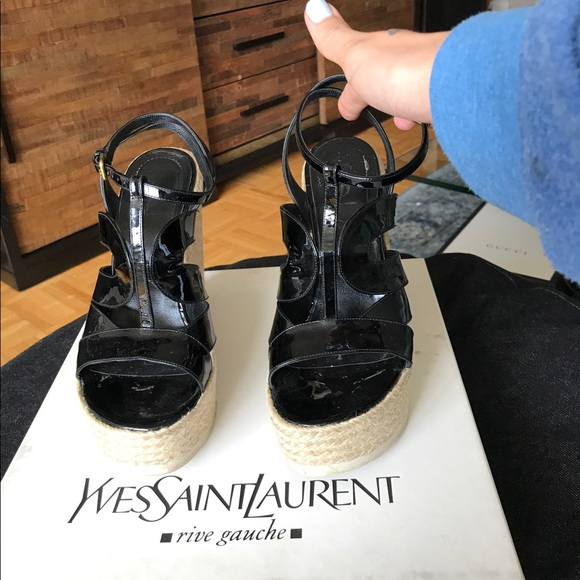 bd919bfb9 Yves Saint Laurent Shoes | Ysl Black Saint Malo Platform Espadrilles ...