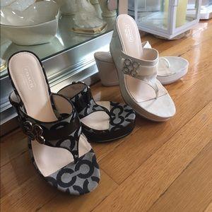 Brand new never worn COACH wedge sandals