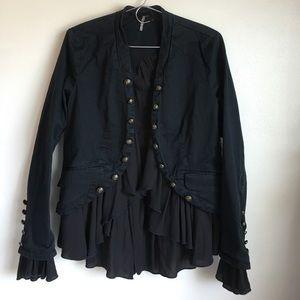 NWT Free People Romantic Ruffles Jacket Black S