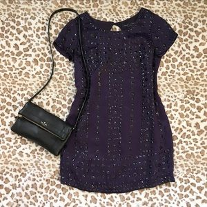 French Connection Purple Embellished Sequin Dress