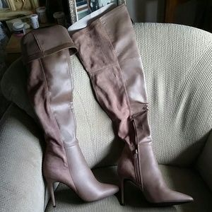 Shoes - Thigh high heels, suede back, leather front