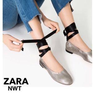 Zara silver flat leather ballet shoes w blk ribbon
