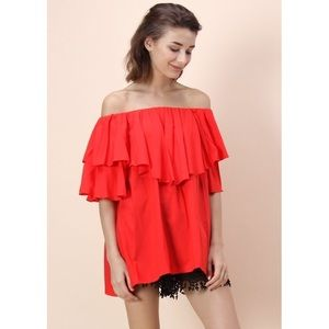 Chicwish red off-shoulder ruffle top blouse