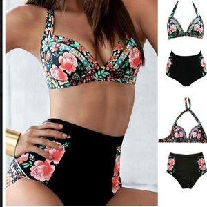 Other - 5⭐️RATE Rose Floral High Waisted Halter bikini set