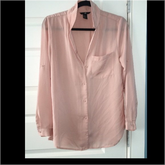 🌷H&M Button Down Pink Satin Blouse From