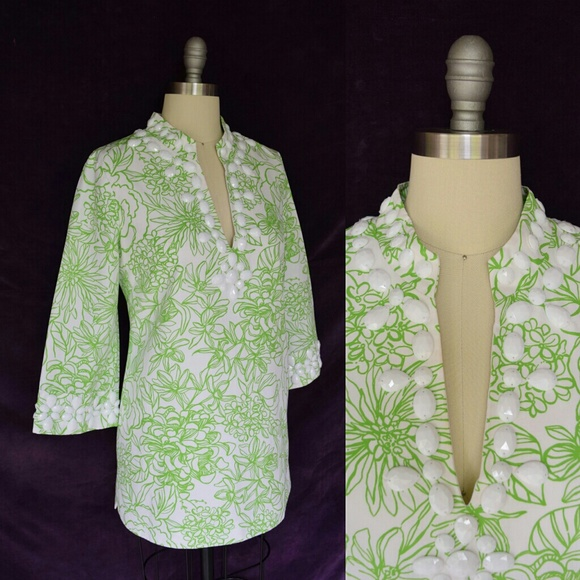 a72f1cb9261b8c Lilly Pulitzer Tops - Lilly Pulitzer Newbury tunic caftan beaded blouse