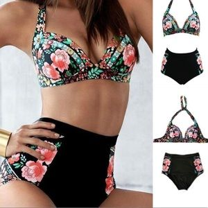 Other - PLUS✨HP5⭐️RATED  Floral High Waisted Halter bikini