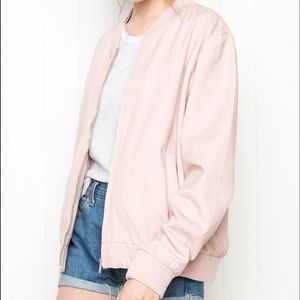 Brandy Melville pink cotton Kassey bomber jacket