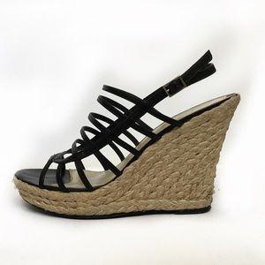Via Spiga black Tandy espadrilles wedge sandal