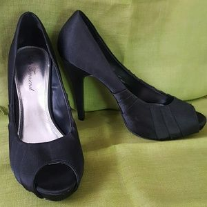 Lulu Townsend Shoes - Black Satin Peep Toe Heels