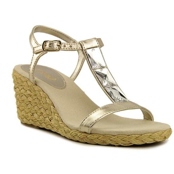a7d6b44b818 Chaps Jeweled Espadrille Wedge Sandals NWT