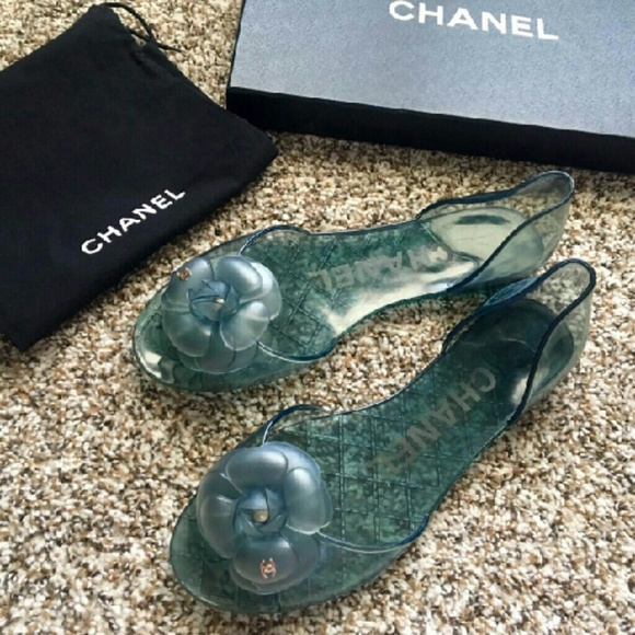 5cf2c55cd CHANEL Shoes - Chanel Blue Jelly CC Camellia Flower Flat Shoes