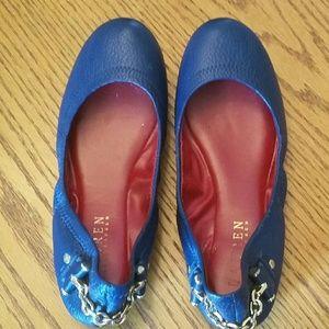 Lauren Ralph Lauren Leather Dark Blue Flats
