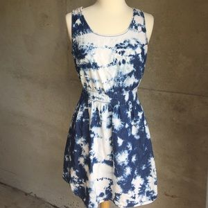 Acid wash denim open back dress