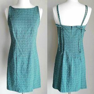Turquoise Blue & Green Plaid Mini Dress w Bow Back