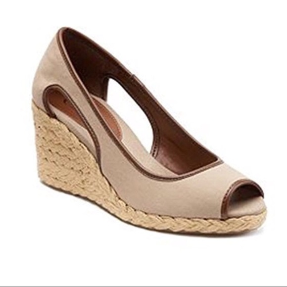 1453fb8267c Chaps Tan   Brown Espadrille Wedge Shoes NWT