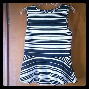 Tops - Navy&white peplum top. Only worn once