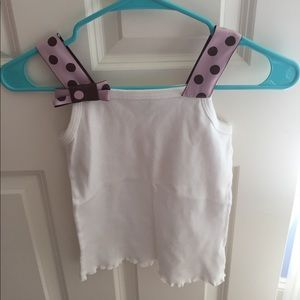 White pink and brown tank top bow polka dot