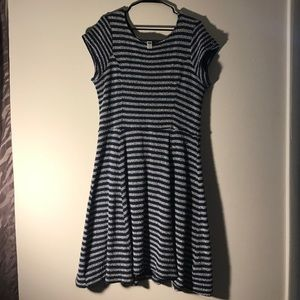 Old Navy blue/white striped A-line dress