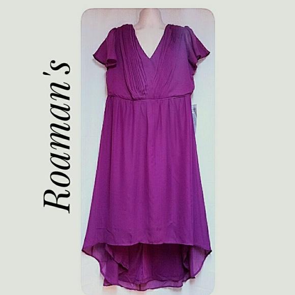 Roaman's Dresses - Roaman's Plus-Size Fuschia High -Low Hem Dress 16W