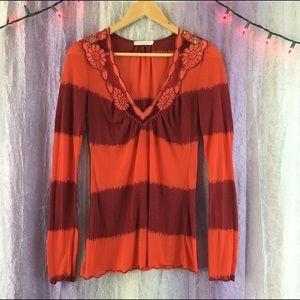 Anthropologie Testament Striped Shirt Floral