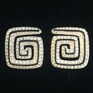 Retired - Swarovski Pierced Greek Key Earrings