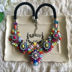Multi Colored Crystal Statement Necklace