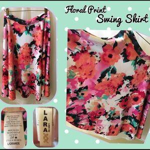 Festive Floral Print Swing Skirt