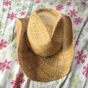 Accessories - Tan blue beaded cowgirl hat