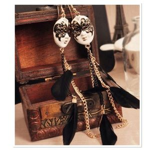 Baroque Chain and Feather Earrings