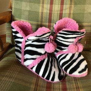 Zebra print slipper boots