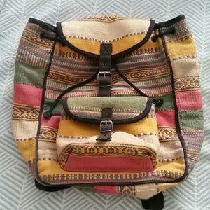 Vintage Tribal Back Pack! 100% Cotton!